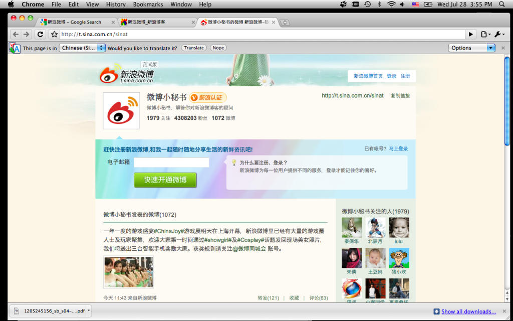 Fig 11, Sina MicroBlog, screen shot by the author