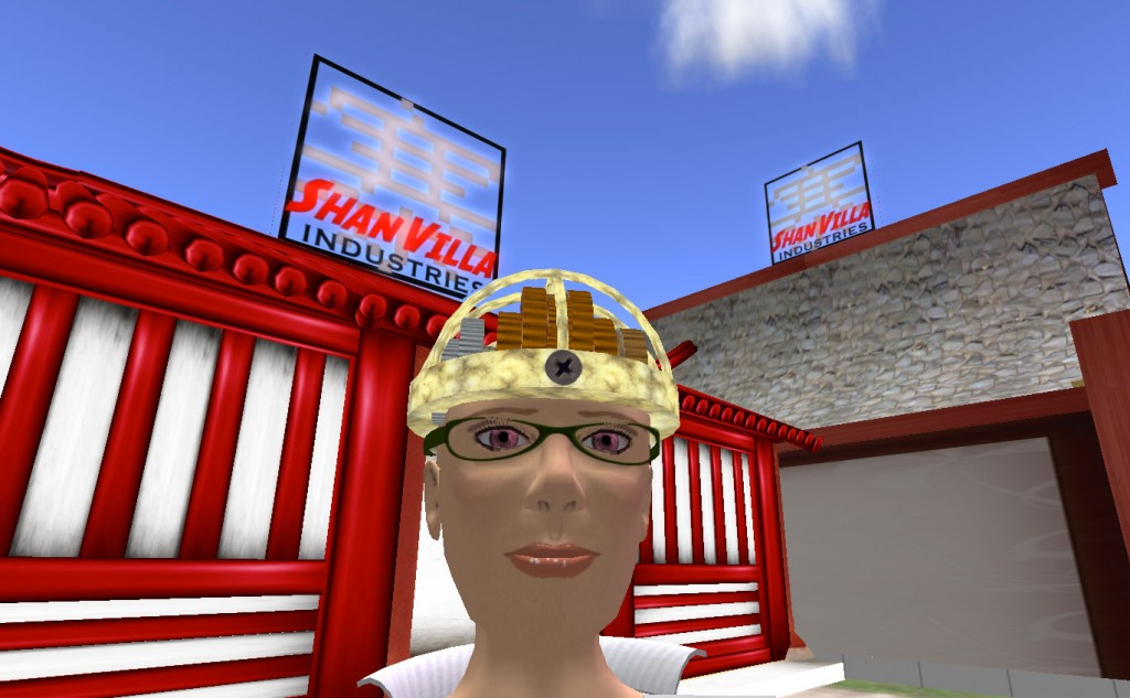 Fig 6, Dr. Rothenberg in front of Shan Villa in Second Life, screen shot, courtesy of Stephanie Rothenberg